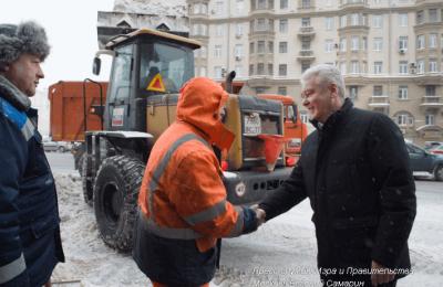 Мэр Сергей Собянин сегодня проинспектировал процесс уборки снега с улиц Москвы