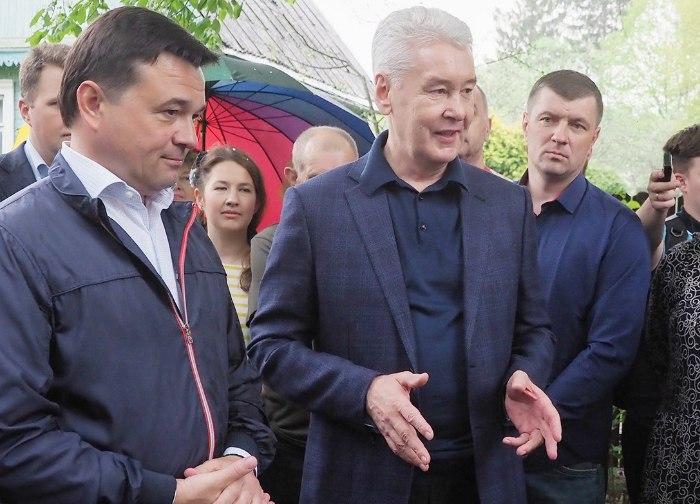 Мэр Москвы Сергей Собянин на встрече с губернатором Подмосковья Андреем Воробьевым